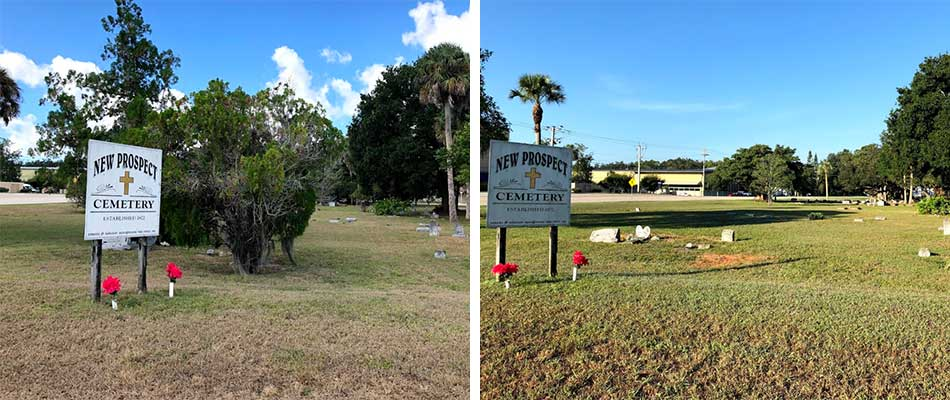 Cemetery cleanup before and after photo in North Fort Myers, FL.